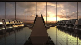 Arrival airplane in flight waiting hall. sunset. moving camera. stock video footage