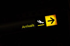 Arrival  airport sign Stock Photography