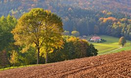 The arrival of autumn. Sunny October day in the Bavarian countryside Royalty Free Stock Image