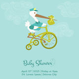 Arrival Baby Card with Stork Royalty Free Stock Photo