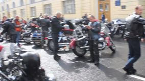 Arrival of bikers at the Harley Davidson Festival stock video