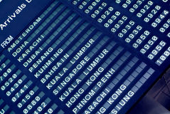 Arrival board at an airport. Electronic arrival board at an airport in Asia Stock Photography