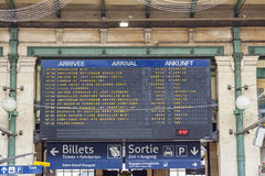 Arrival board - Gare du Nord, Paris. Royalty Free Stock Photos