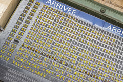 Arrival board - Gare du Nord, Paris. Royalty Free Stock Photography