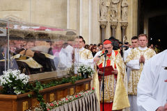 Arrival of the body of St. Leopold Mandic in Zagreb Cathedral. Croatia Stock Photos