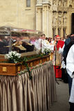Arrival of the body of St. Leopold Mandic in Zagreb Cathedral. Croatia Stock Image