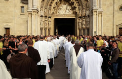 Arrival of the body of St. Leopold Mandic in Zagreb Cathedral. Croatia Stock Photography