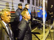 The arrival of the campaign train of the Russian liberal democratic party. In the election propaganda work of the liberal democratic party of Russia LDPR holds stock image