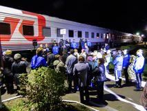 The arrival of the campaign train of the Russian liberal democratic party. Stock Photos