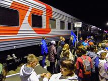 The arrival of the campaign train of the Russian liberal democratic party. In the election propaganda work of the liberal democratic party of Russia LDPR holds stock photography
