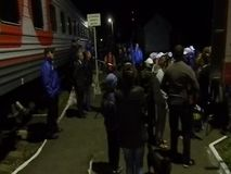 The arrival of the campaign train of the Russian liberal democratic party. In the election propaganda work of the liberal democratic party of Russia LDPR holds stock footage