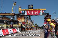 The arrival of Chamrousse stage of Tour de France. CHAMROUSSE, FRANCE, JULY 18, 2014 : Last straight and arrival of Chamrousse stage of Tour de France. Tour de Stock Images