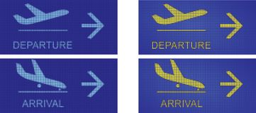 Arrival and departure, airport navigational signs Stock Photo