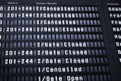 Arrival Departure Board. At Warsaw Airport Royalty Free Stock Image