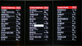 Arrival Departure Board. In an australian train station Stock Images