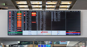 Arrival/Departure board in the Zurich Airport Stock Photos