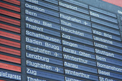 Arrival-Departure board of the Zurich main railway station Stock Photo
