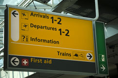 Arrival and departure information sign Stock Photo