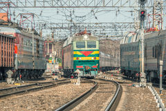 Arrival and departure of the passenger trains. Royalty Free Stock Photo