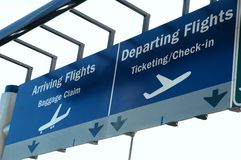 Arrival Departure Sign. Arrival and departure sign outside an airport Stock Photography