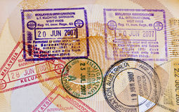 Arrival and Departure Stamps on Passport Stock Images