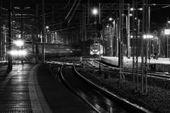 Arrival and departure of the trains. Railway traction network, transport node Stock Images