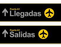 Arrival and departures airport signs in Spanish Royalty Free Stock Image