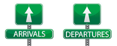 Arrival and departures airport street signs. Isolated over a white background Stock Photo