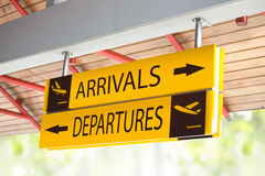 Arrival and Departures sign Royalty Free Stock Images