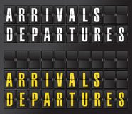 Arrival and departures sign on airport board Royalty Free Stock Photos