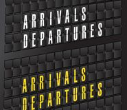 Arrival and departures sign on airport board Stock Photos