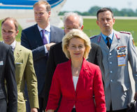 Arrival of the Federal Minister of Defence of Germany. BERLIN, GERMANY - MAY 21, 2014: Arrival of the Federal Minister of Defence of Germany, Ursula von der Stock Photos