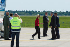 Arrival of the Federal Minister of Defence of Germany. BERLIN, GERMANY - MAY 21, 2014: Arrival of the Federal Minister of Defence of Germany, Ursula von der Royalty Free Stock Photo