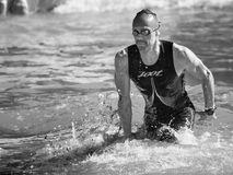 Arrival of the first athletes at the end of the swimming test at Ironman 70.3 in Pescara. Pescara, Italy - June 18, 2017: Arrival of the first athletes at the Royalty Free Stock Photo