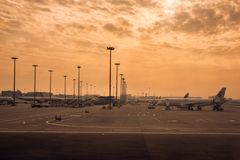 Arrival flight in morning at Chengdu Shuangliu International Airport royalty free stock photography