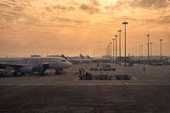 Arrival flight in morning at Chengdu Shuangliu International Airport royalty free stock image