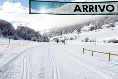 Arrival Gate On Country-cross Ski Slope. In Abruzzi Italy Royalty Free Stock Photography