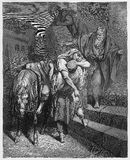 Arrival of the Good Samaritan at The Inn Stock Images