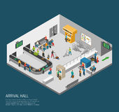 Arrival Hall Airport Poster. Airport inside poster of scene in arrival hall people getting baggage and pass control isometric vector illustration Royalty Free Stock Photos