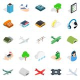 Arrival icons set, isometric style. Arrival icons set. Isometric set of 25 arrival vector icons for web isolated on white background Stock Photo