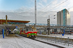 Arrival a intercity train on Jyvaskyla railway station. Stock Photo