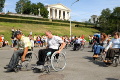 Arrival of invalids on wheelchair. Stock Photos