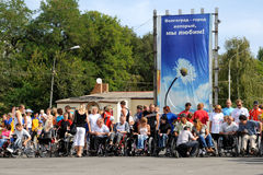 Arrival of invalids on wheelchair. Stock Images