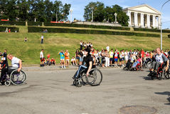 Arrival of invalids on wheelchair. Royalty Free Stock Images