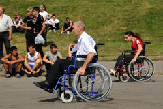 Arrival of invalids on wheelchair. Stock Photography