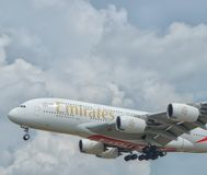 Landing. Arrival. Kuala Lumpur International Airport, Malaysia, 20th January 2018, Emirates Air Airbus A380 aircraft on landing approach at the airport Stock Photos