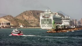 Little ferry entering in the port of Alicante. stock video footage