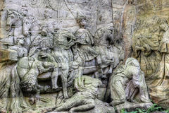 Arrival of the Magi and Adoration of the Shepherds. Kuks Forest Sculptures - Arrival of the Magi and Adoration of the Shepherds - detail of the Baroque relief by Royalty Free Stock Images