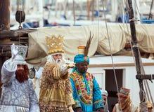 Arrival of the Magi boat. BARCELONA, SPAIN - JANUARY 5, 2014: Cabalgata de Reyes Magos in Barcelona, Spain Royalty Free Stock Photography
