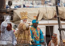 Arrival of the Magi to Barcelona by boat Stock Image